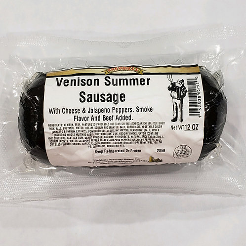 Venison Summer Sausage (With Cheese & Jalapeno)-(12 Oz.)