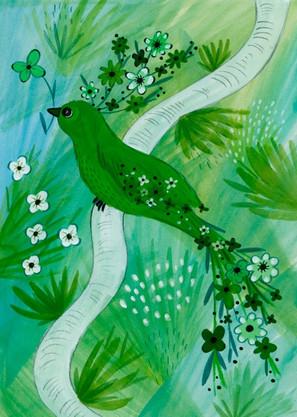 Green Flower Bird - Kay Widdowson