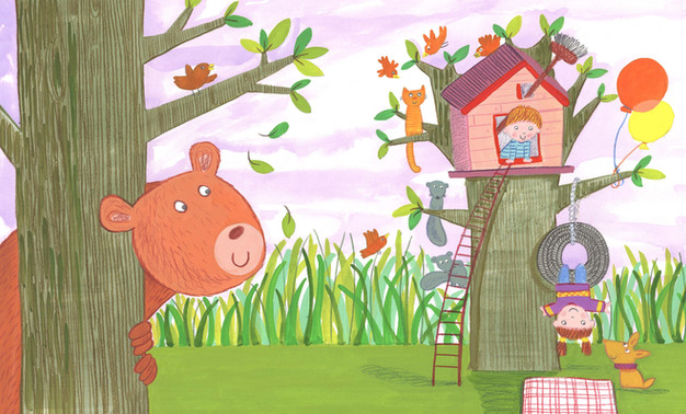 Bear and tree house - Kay Widdowson