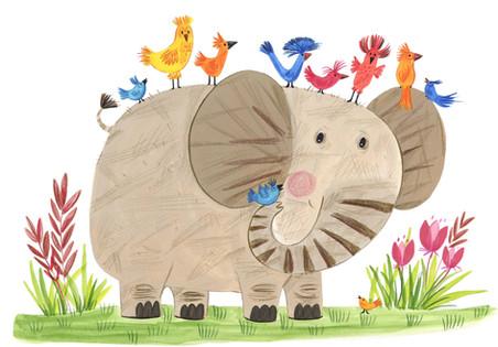 Elephant and birdies - Kay Widdowson