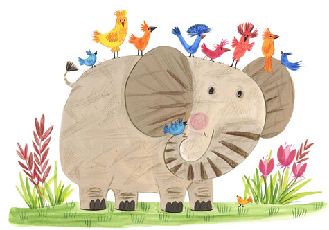 Elephant and birdies - Kay Widdowson