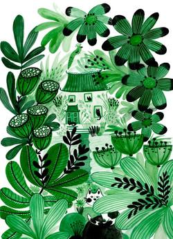 Emerald garden and cats - Kay Widdowson