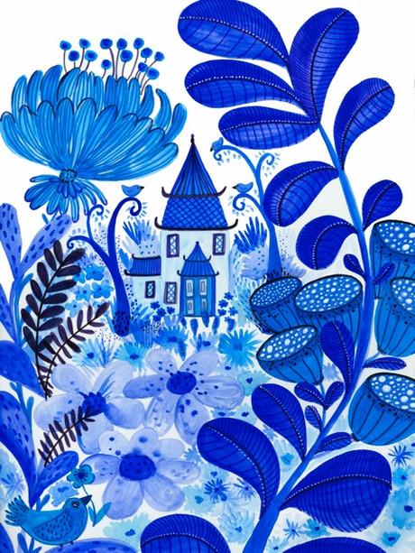 Blue oriental Garden- Kay Widdowson