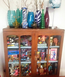Vases from charity shops and toy cabinet - Kay Widdowson