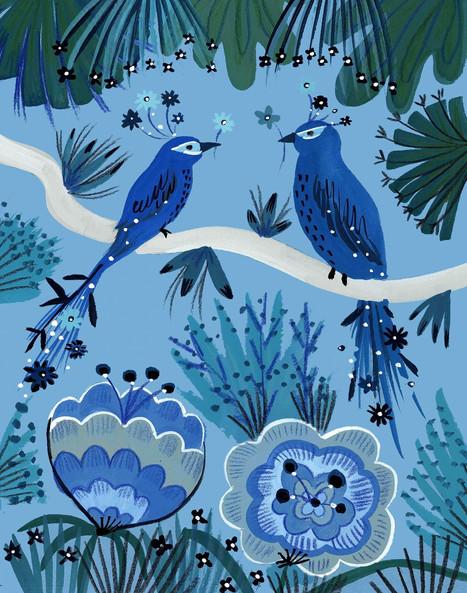 Blue Love Birds - Kay Widdowson