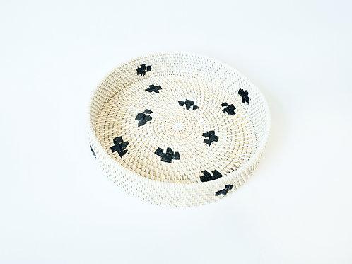White Rattan Tray with black motif