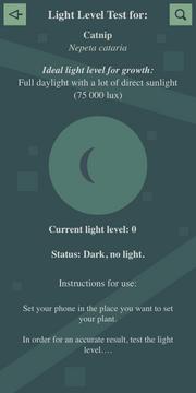 Light level test (Dark, no light) Interface