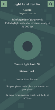 Light level test (Dark) Interface