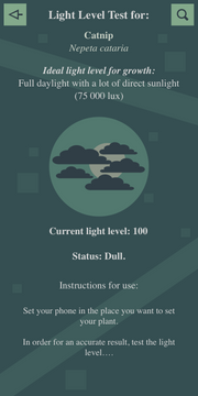 Light level test (Dull with clouds) Interface
