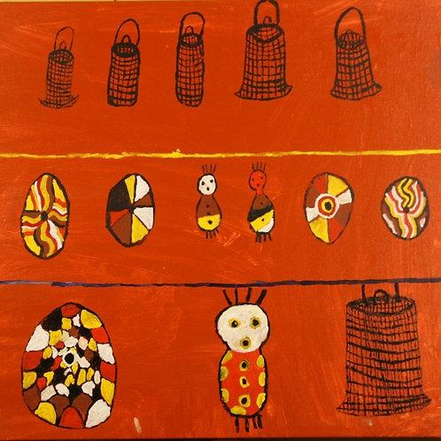 Painting: 'Jawun, Shields and Bagu'