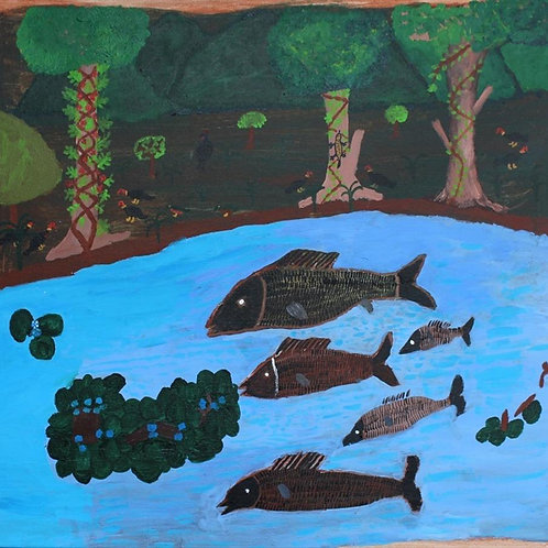 Painting: 'Five Fish With Floating Weed'