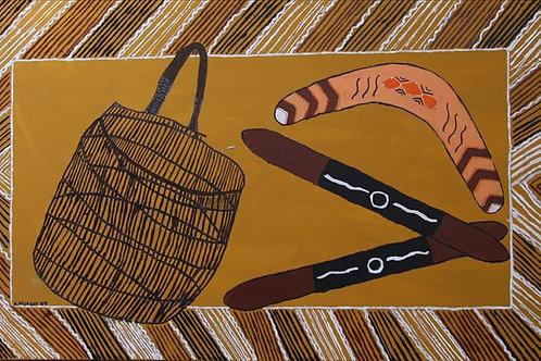 Painting: 'Jawun, Boomerang and Clap Sticks'