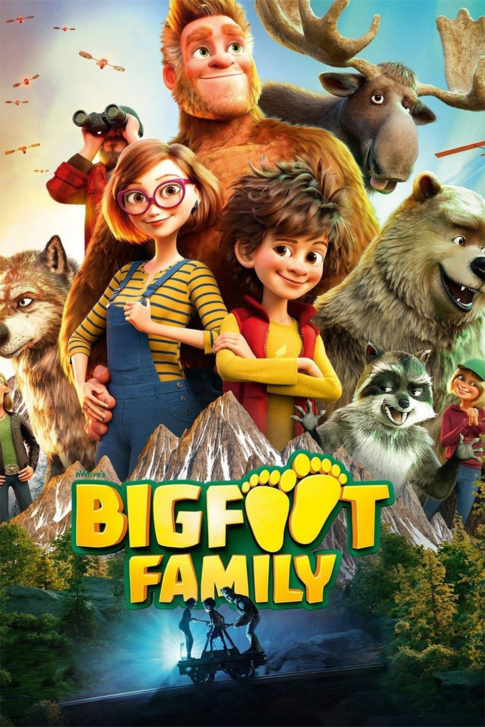 Film protagonist Adam standing with his parents and animal family members. In the background are some robots flying.
