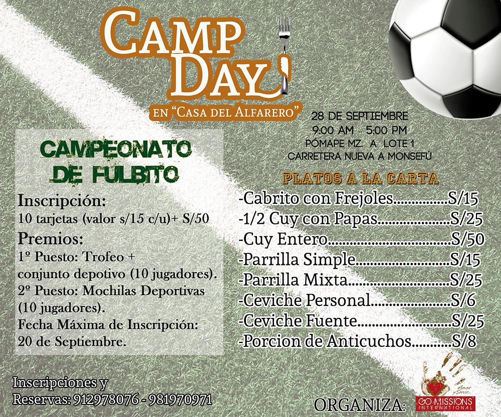 """Camp day es un evento familiar donde degustaremos de la gastronomía peruana. El motivo de Camp Day es poder recaudar fondos para la segunda fase de construcción """"CASA DEL ALFARERO"""""""