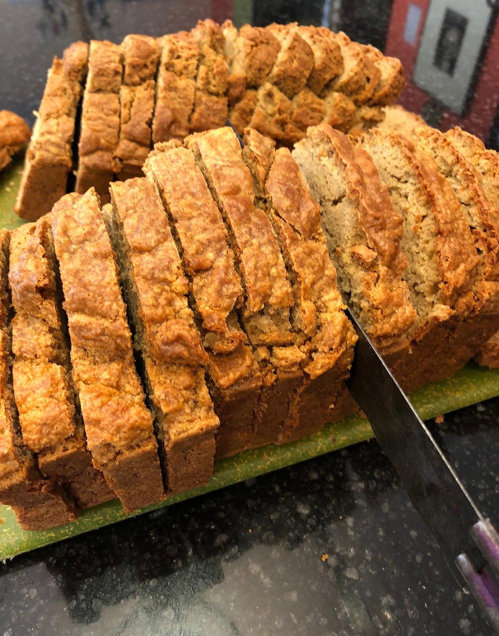 Bread knife slicing.