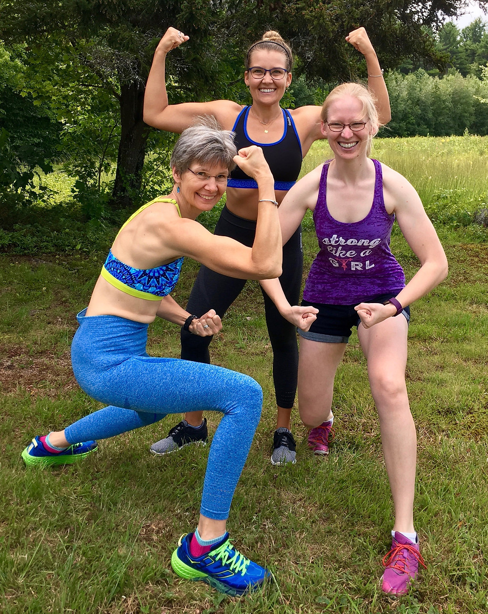 Dotty, Helen, and Ruth showing off our muscles, 2017