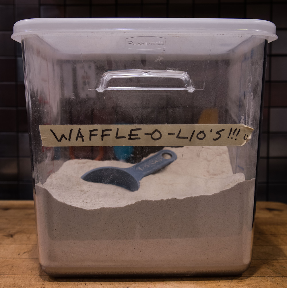 Container of GF waffle mix, entitled Waffle-o-lio's!!!