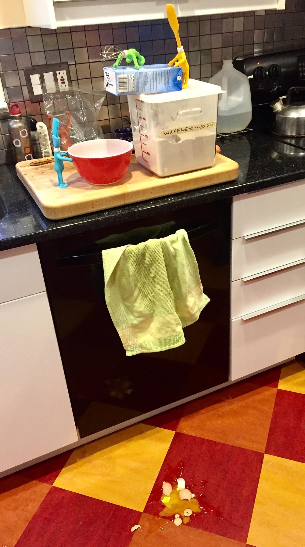 Messy egg spill