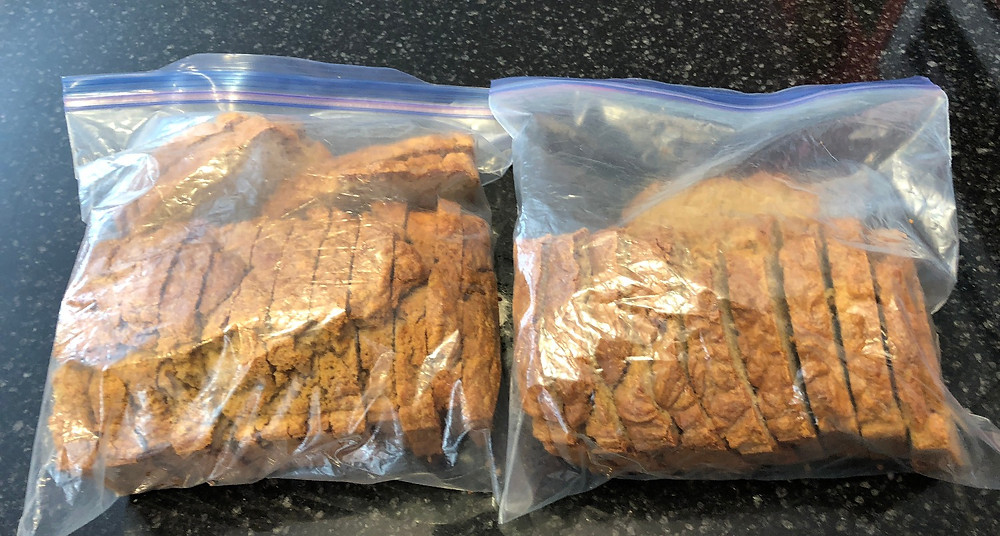 2 loaves, sliced, in freezer bags