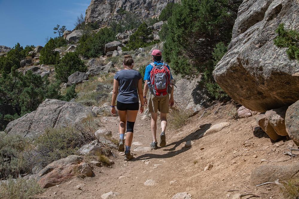 Helen and Jonathan hiking Sink Canyon trail, Wyoming