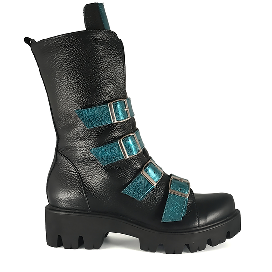 BOCANCI DAMA ROCK THE STREETS BLACK BISON TURQUOISE PIELE NATURALA