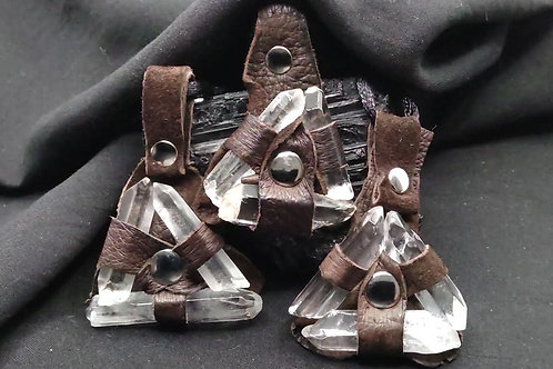 Leather wrapped Quartz Crystals