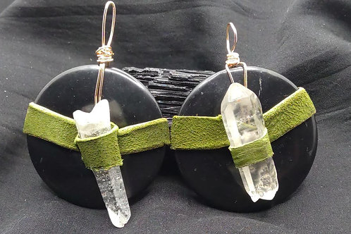 Leather wrapped Shungite disk with Quartz Crystal