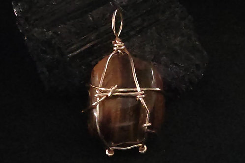 Tiger's Eye wire wrapped pendant