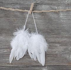 Angel wings on grey wooden background.jp