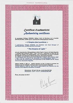 00 - Empire des Lumières - Certificat d