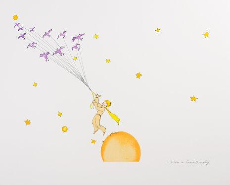 Le Petit Prince en route vers une autre planète