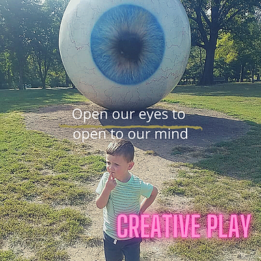 creative play young boy eyeball child thinking
