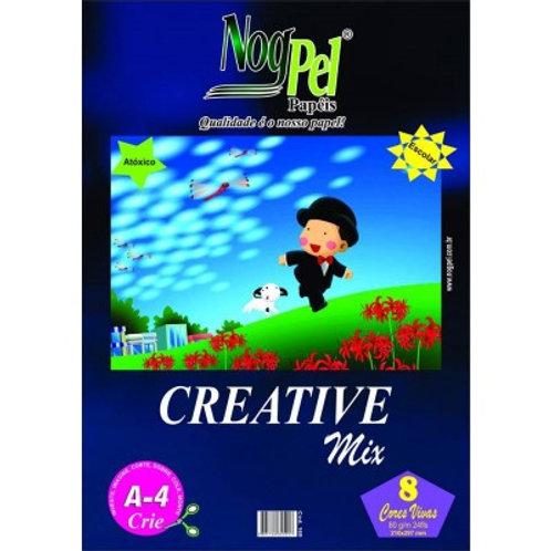 BLOCO A4 CREATIVE MIX COLORIDO 80G 24FLS NOGPEL