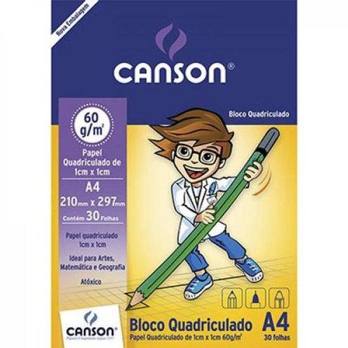 BLOCO ESCOLAR QUADRICULADO 63GR C/30FLS CANSON