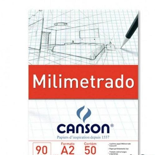 PAPEL MILIMETRADO, BLOCO A2,  90GR C/50FL CANSON