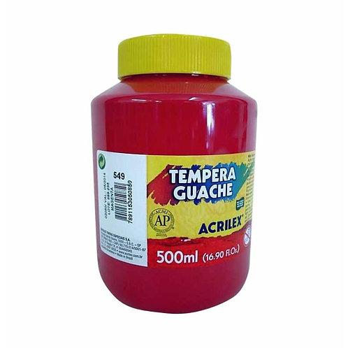Tinta Guache vermelho fogo Acrilex 500ml