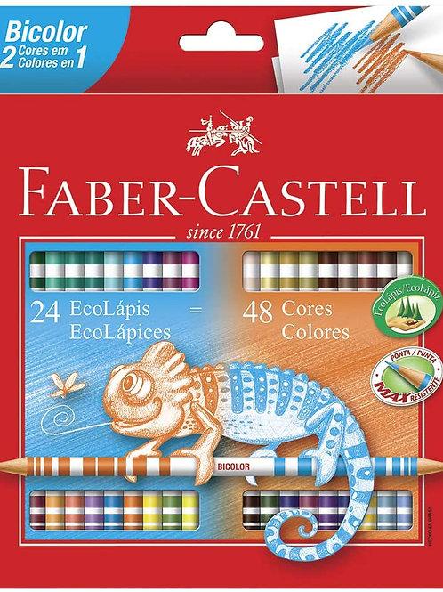 EcoLápis Bicolor 24 lápis de 48 cores Faber Castell