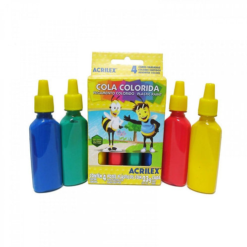 Cola Colorida Acrilex 23g com 4 cores