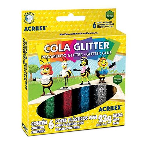 Cola Glitter Acrilex com 6
