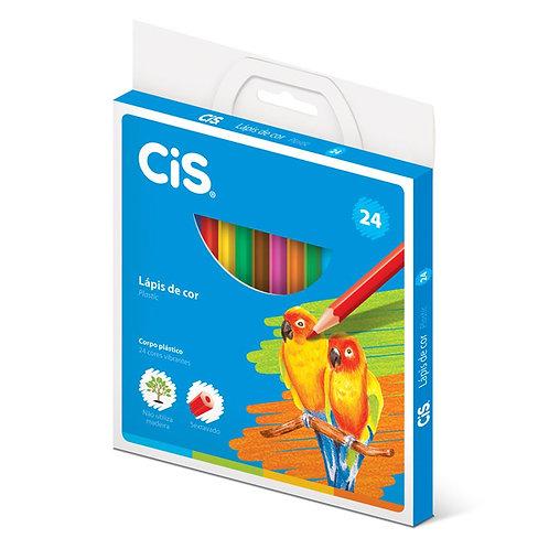 Lápis de cor 24 cores Plastic Cis