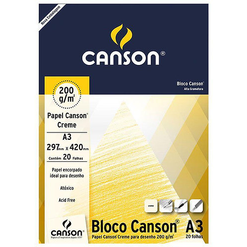 BLOCO DESENHO CREME A3 200GR C/ 20FL CANSON
