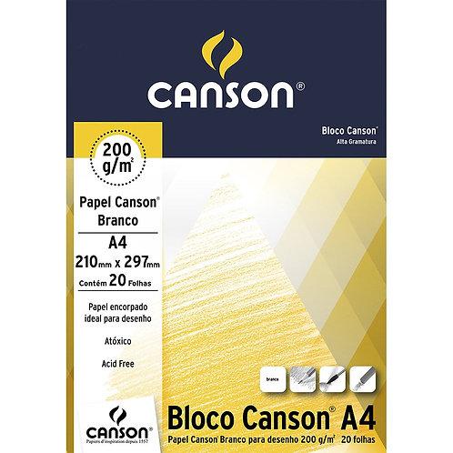 BLOCO DESENHO A4 200G 20FLS BRANCO CANSON
