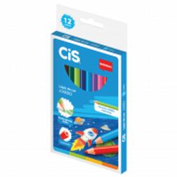 Lápis de cor sextavado Plastic 12 cores Cis