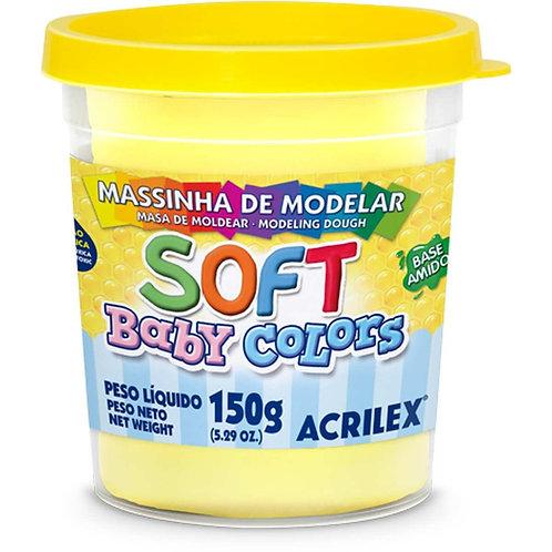 Massinha Soft Acrilex 150g Amarelo Bebe