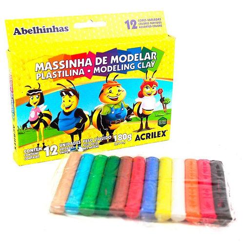 Massa Acrilex para modelar Abelhinhas 12 cores