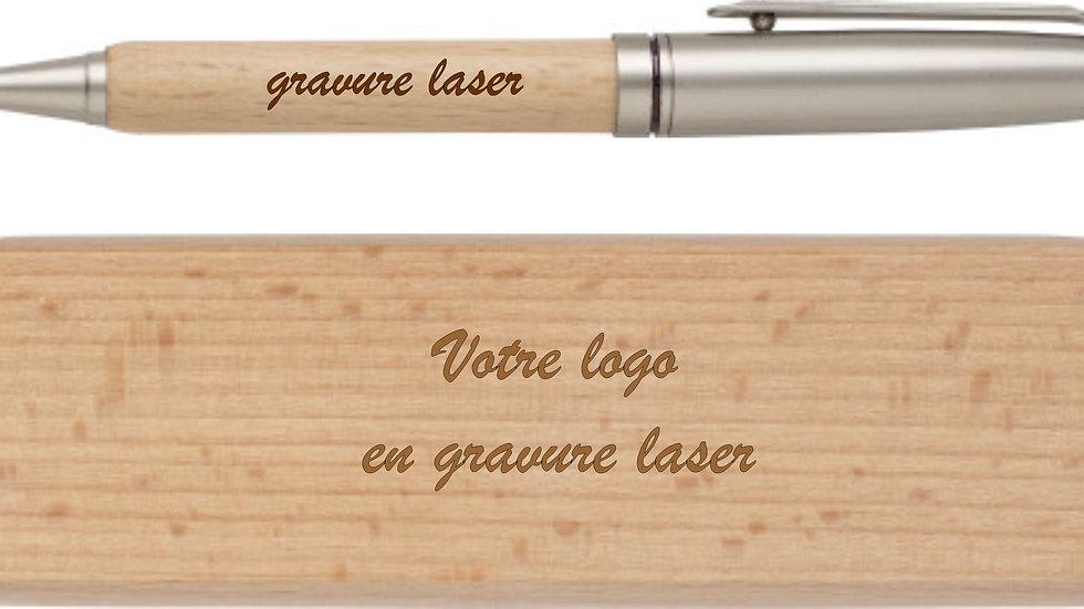 Coffret stylo bois de hêtre.