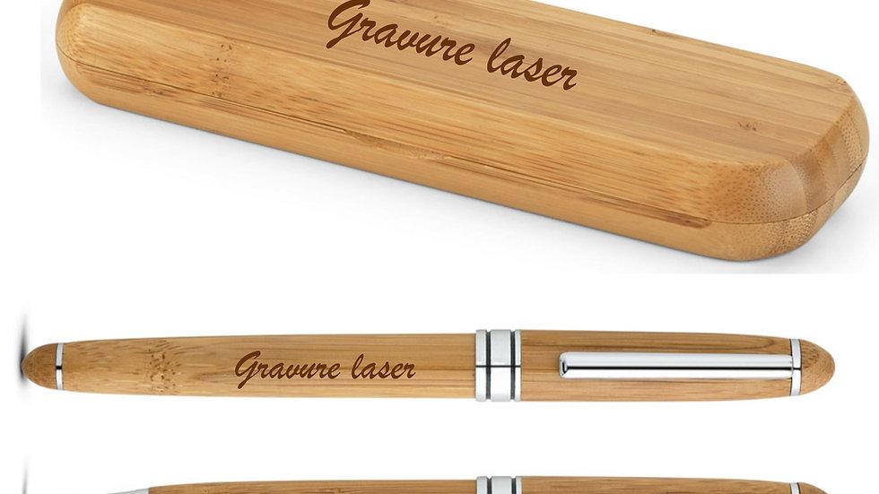 Kit roller et stylo bille en bambou