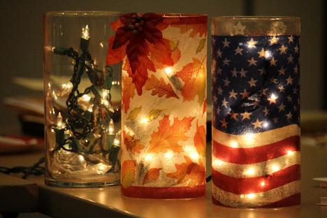 Lighted vases made by Diane Eads