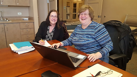 Linda Adrian and Judy Sporny doing some genealogical research