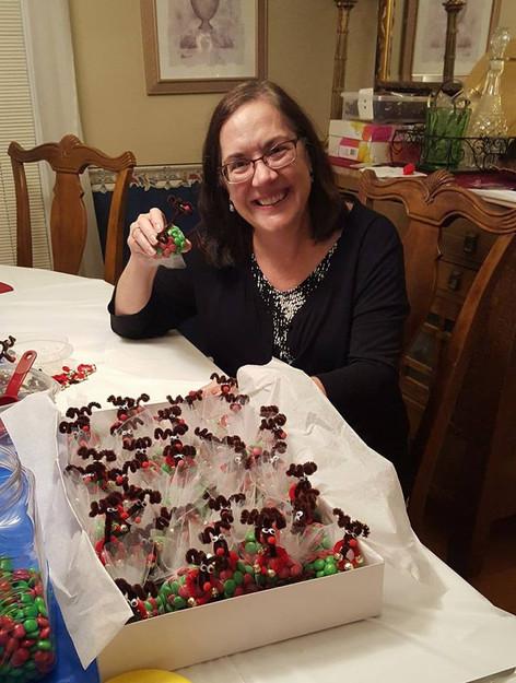 Linda Adrian making M&M Turkeys for Ways & Means Committee